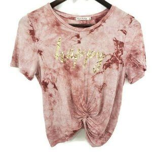 Heart and Hips Bleached Happy Crop Tie Knot Top